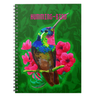 Hummingbird hand drawing bright illustration. Neon Notebook