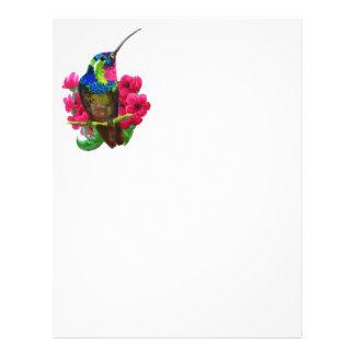 Hummingbird hand drawing bright illustration. Neon Personalized Letterhead
