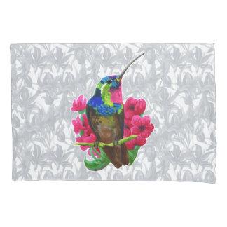 Hummingbird hand drawing bright illustration. Neon Pillowcase