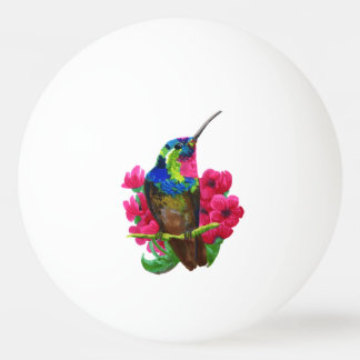 Hummingbird hand drawing bright illustration. Neon Ping Pong Ball