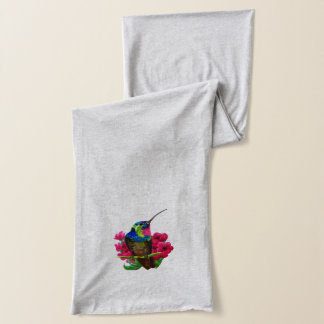Hummingbird hand drawing bright illustration. Neon Scarf
