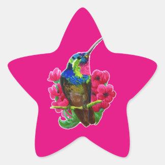 Hummingbird hand drawing bright illustration. Neon Star Sticker