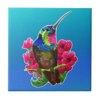 Hummingbird hand drawing bright illustration. Neon Tile