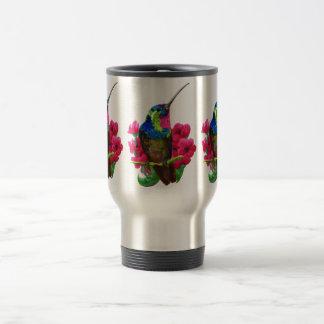 Hummingbird hand drawing bright illustration. Neon Travel Mug