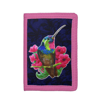 Hummingbird hand drawing bright illustration. Neon Trifold Wallet