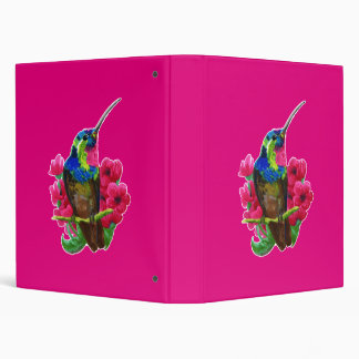 Hummingbird hand drawing bright illustration. Neon Vinyl Binder