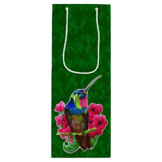 Hummingbird hand drawing bright illustration. Neon Wine Gift Bag