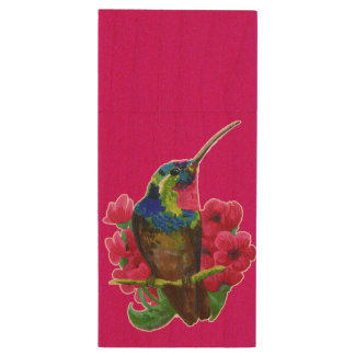 Hummingbird hand drawing bright illustration. Neon Wood USB Flash Drive