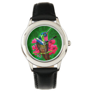 Hummingbird hand drawing bright illustration. Neon Wristwatch
