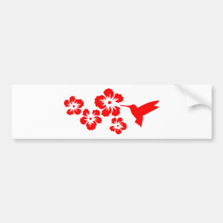 hummingbird hibiscus red bumper sticker