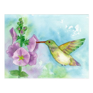 Hummingbird Hollyhocks Watercolor Painting Postcard