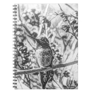 Hummingbird in Black and White Spiral Notebook