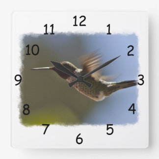 Hummingbird in Flight Square Wall Clock