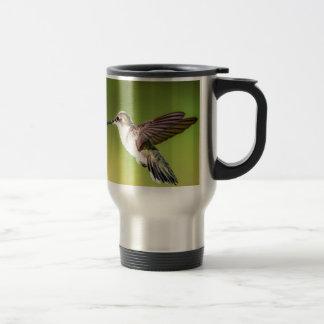 Hummingbird in flight travel mug