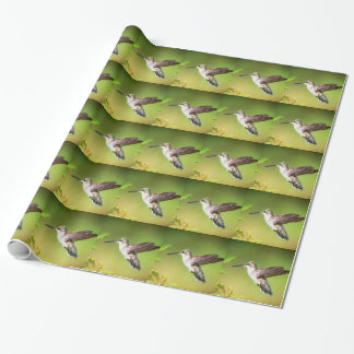 Hummingbird in flight wrapping paper