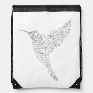 Hummingbird Jamming Out Drawstring Bag