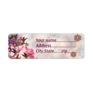 Hummingbird Lavender Jeweled CUSTOM Return Address Label