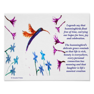 Hummingbird legend with flowers Art Poster
