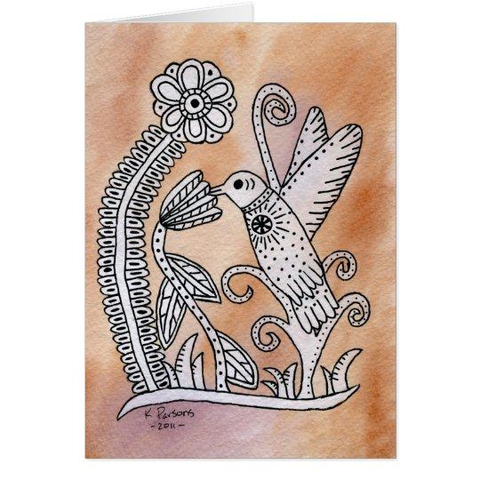 Hummingbird, Mexican Bark Style Card