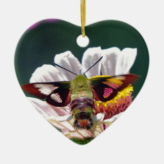 Hummingbird Moth Ceramic Heart Ornament