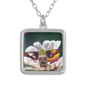 Hummingbird Moth Silver Plated Necklace