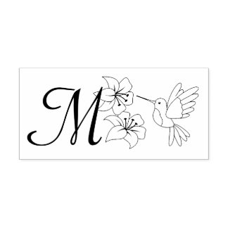 Hummingbird near Flowers Monogram Rubber Stamp