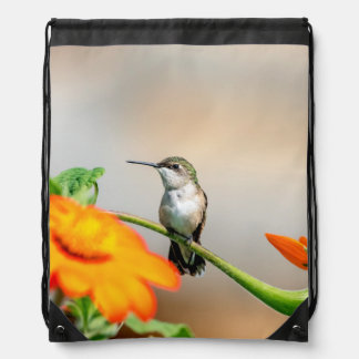 Hummingbird on a flowering plant drawstring bag