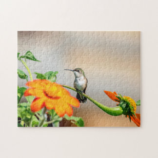 Hummingbird on a flowering plant jigsaw puzzle