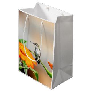 Hummingbird on a flowering plant medium gift bag