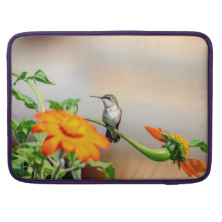 Hummingbird on a flowering plant sleeve for MacBooks