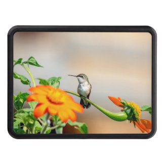 Hummingbird on a flowering plant trailer hitch cover