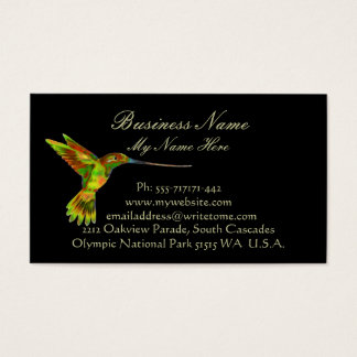 HUMMINGBIRD on Black Business Cards