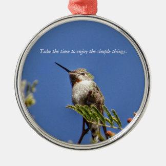 Hummingbird on Branch by SnapDaddy Metal Ornament