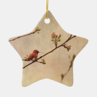 Hummingbird on Flowering Cherry Tree Ceramic Ornament