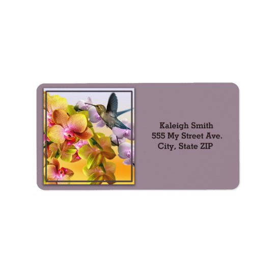 Hummingbird on Lilacs and Orchids on Purple