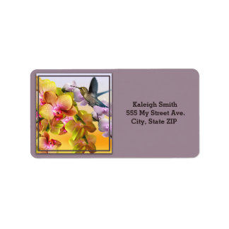 Hummingbird on Lilacs and Orchids on Purple Label