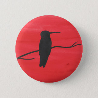 Hummingbird On Red 2 Inch Round Button