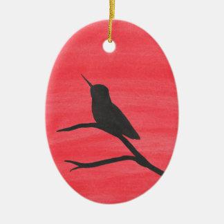 Hummingbird On Red Ceramic Ornament