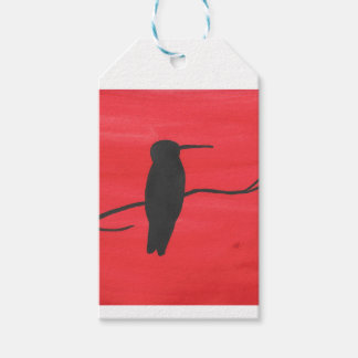 Hummingbird On Red Gift Tags