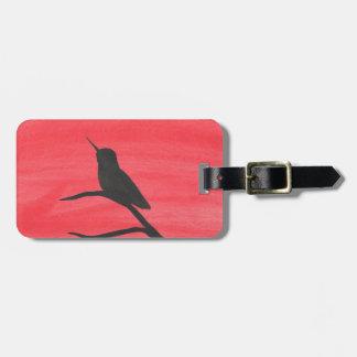 Hummingbird On Red Luggage Tag