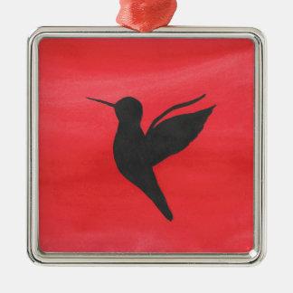 Hummingbird On Red Metal Ornament
