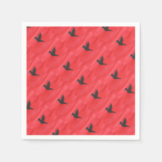 Hummingbird On Red Paper Napkins