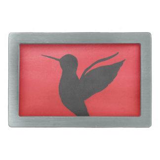 Hummingbird On Red Rectangular Belt Buckles