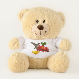 Hummingbird on Red Yellow Flowers Teddy Bear