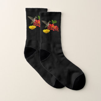 Hummingbird on Red Zinnia Flower Socks 1