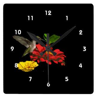Hummingbird on Zinnias Wallclocks