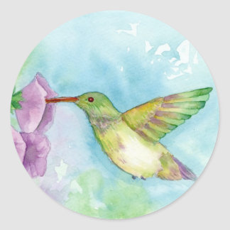 Hummingbird Pink Hollyhock Flowers Blue Classic Round Sticker