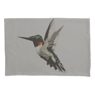 Hummingbird polygon art illustration pillowcase
