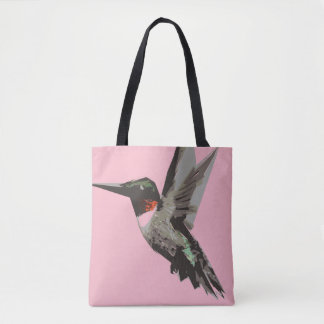 Hummingbird polygon art illustration tote bag