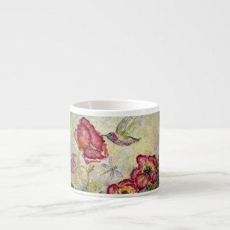 Hummingbird Poppies Watercolor Art Espresso Cup